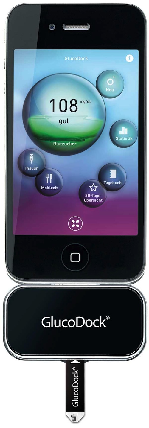 GlucoDock1 NEU: Blutdruck  und Blutzuckermessung am Handy