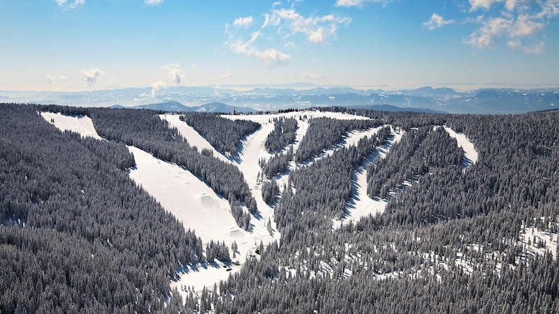 Ski slopes Rogla in Slowenien ein feines Skigebiet