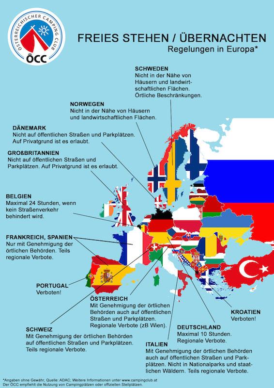 ÖCC Grafik Europa Freies Stehen Vorsicht beim Wildcampen in Europa