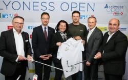 Österreichs Golf As Bernd Wiesberger teet in Tulln auf