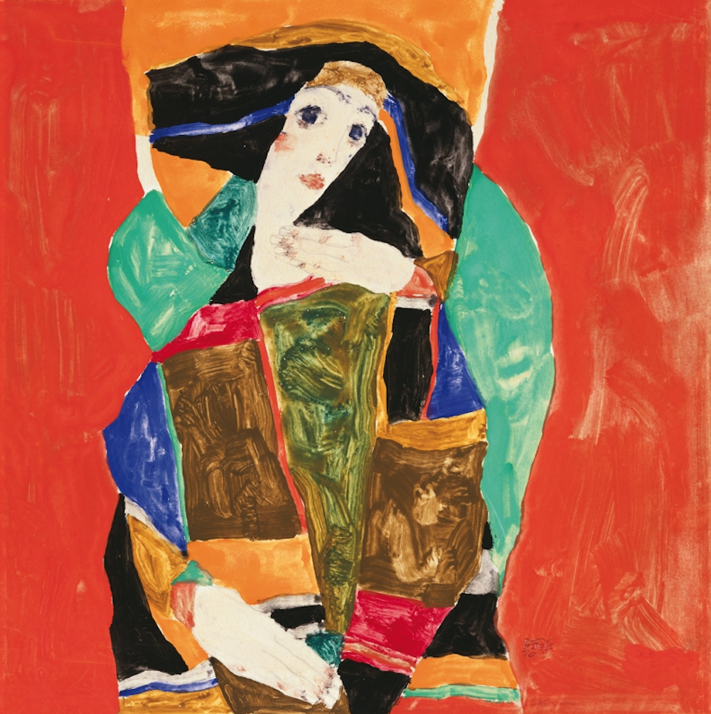 EGON SCHIELE DAMENBILDNIS (WALLY NEUZIL), 1912 PORTRAIT OF A LADY (WALLY NEUZIL), 1912 Gouache und Bleistift auf Papier   gouache and pencil on paper 24,8 × 24,8 cm Courtesy Heidi Horten Collection