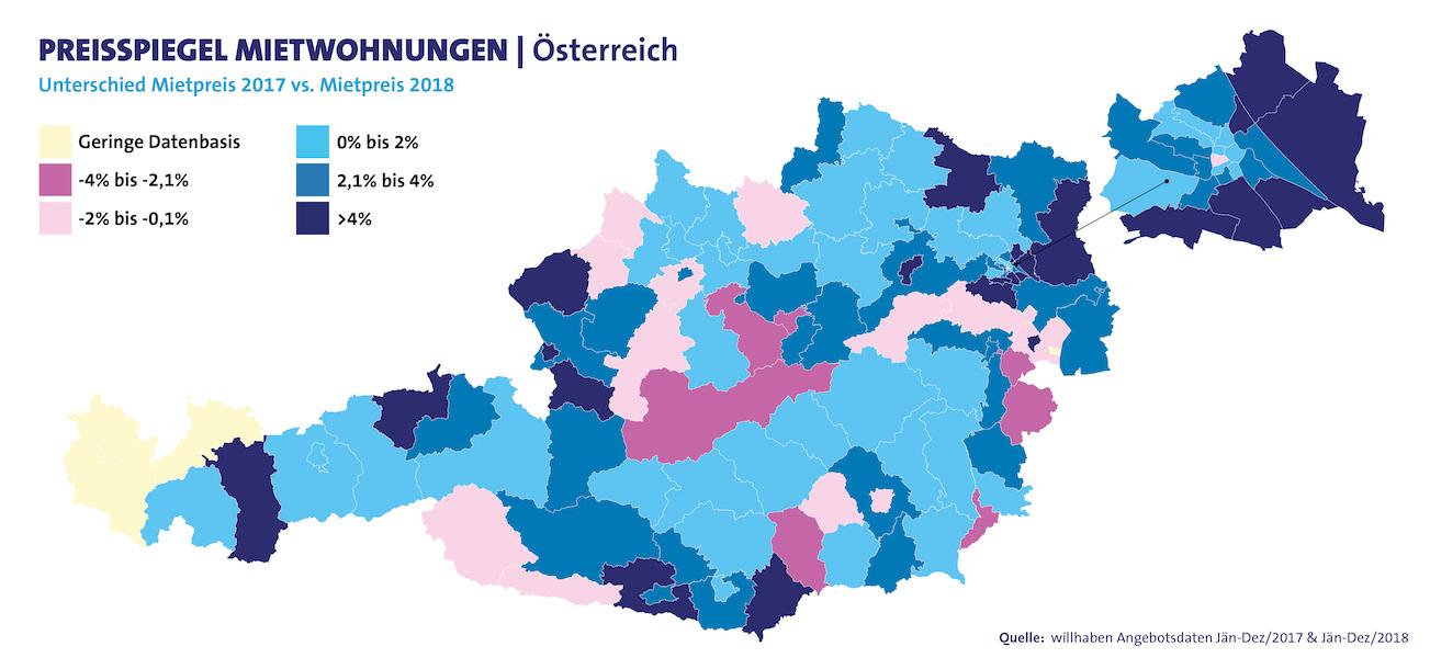 Preisspiegel Mietwohnungen Österreichkarte