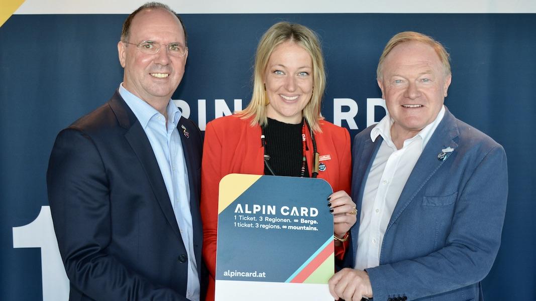 Präsentierten die neue Ski ALPIN CARD im Rahmen eines Pressegesprächs in Salzburg: (von links) Norbert Karlsböck, Isabella Dschulnigg-Geissler und Erich Egger  Copyright: Ski Alpin Card